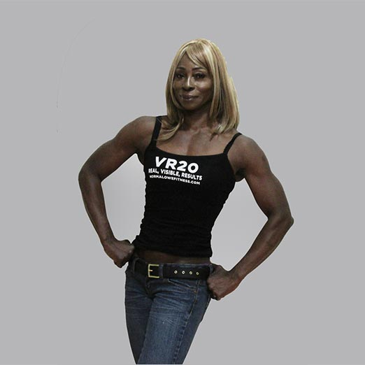 woman wearing a VR20 black tanktop and jeans
